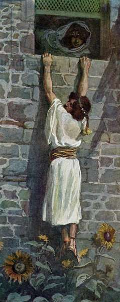 David makes his escape by J James Tissot - Bible