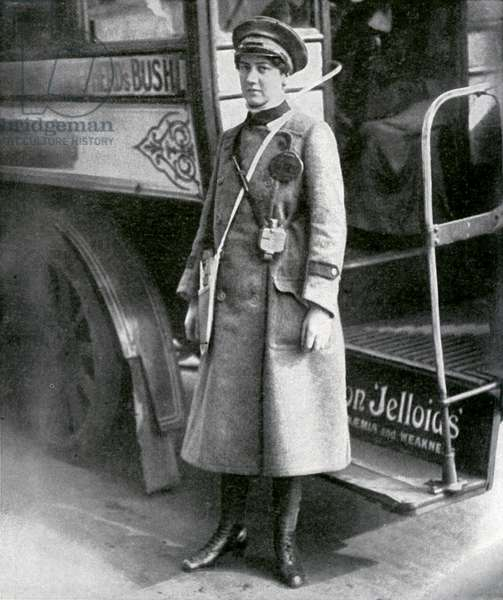 Female bus conductor during World War 1