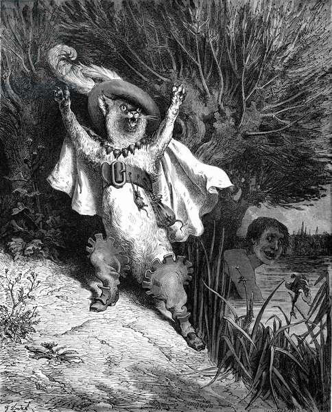 Puss in Boots, engraving by Gustave Doré.