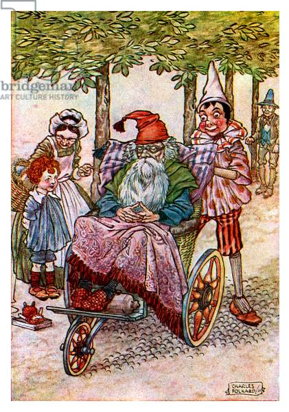 Pinocchio pushing Geppetto in a wheel-chair