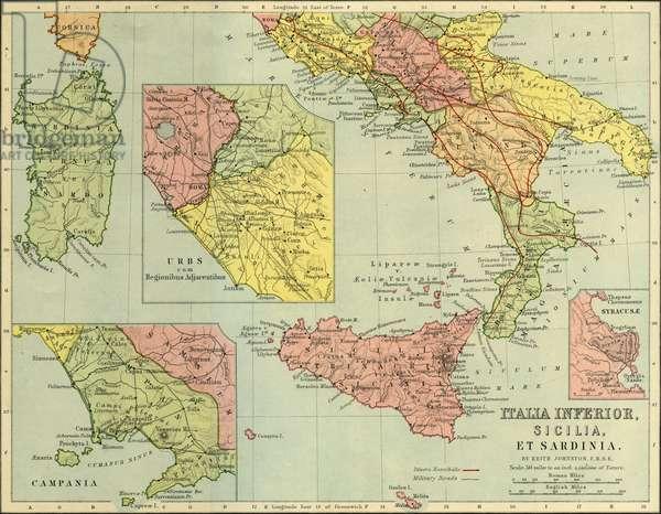 Map of southern  Roman Italy, Sicily and Sardinia