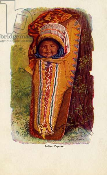 Native American child in cradle board
