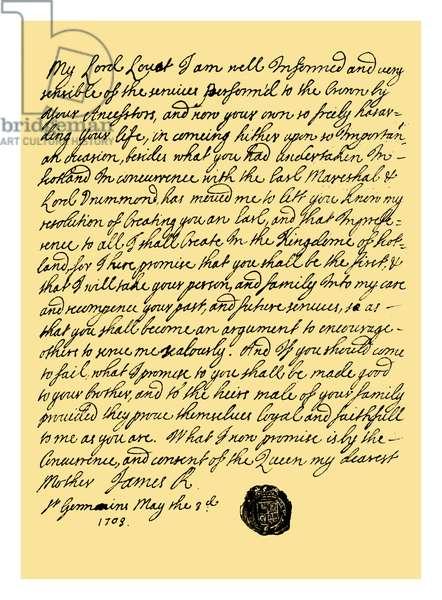Autograph: James Stuart the Pretender, 1703.