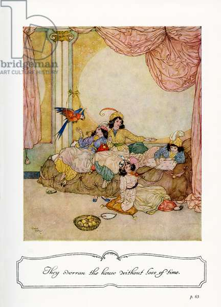 Blue Beard - illustration by Edmund Dulac, to text by Sir Arthur Quiller Couch, 1938 (lithograph)