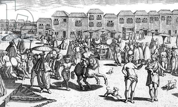 Goa, India, market scene 16th century
