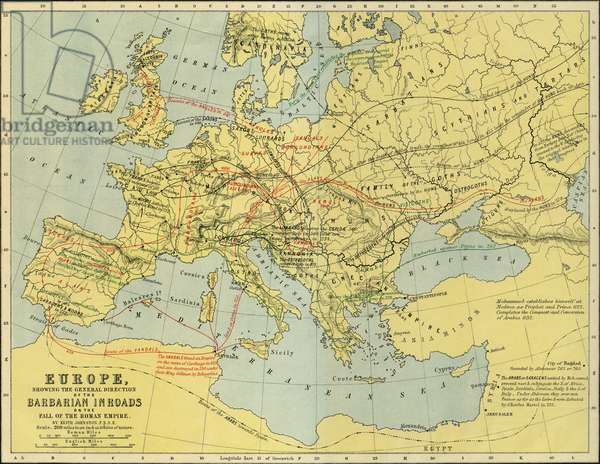 Map of Europe at the fall of the Roman Empire