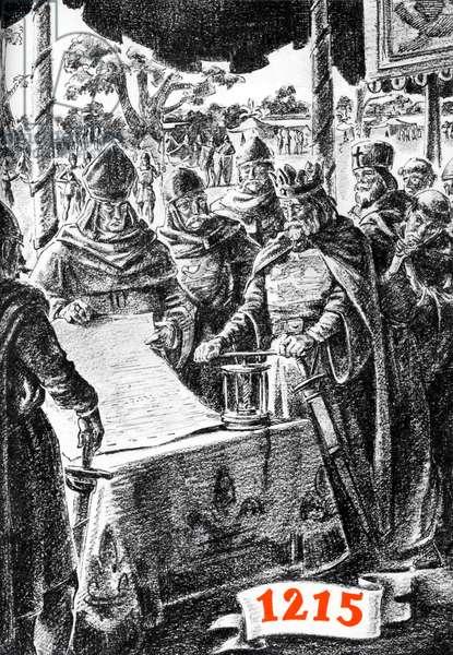 King John of England signing the Magna Carta, 1215
