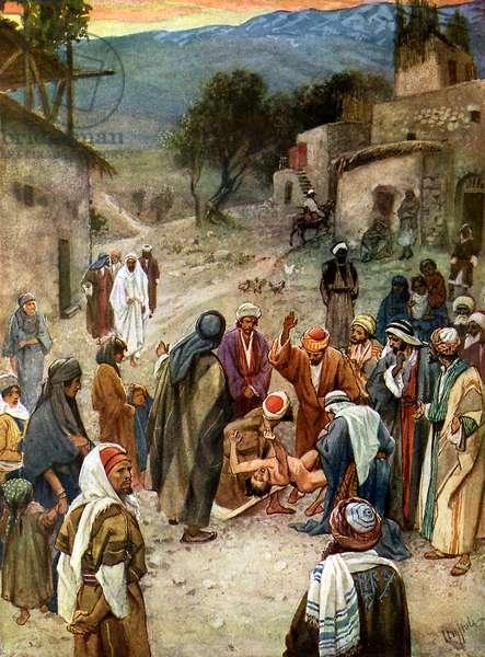 Jesus removes  an evil spirit - Bible