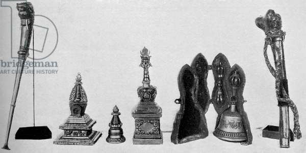Collection of Tibetan Buddhist ceremonial instruments