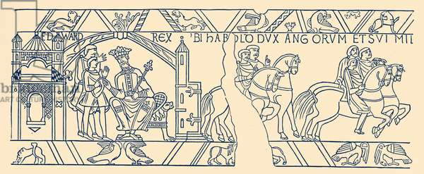 Bayeux Tapestry: Harold leaving Edward the Confessor
