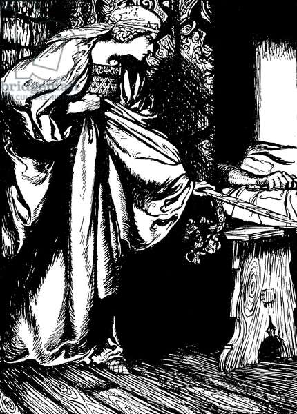 Morgan le Fay stealing Arthur 's sword
