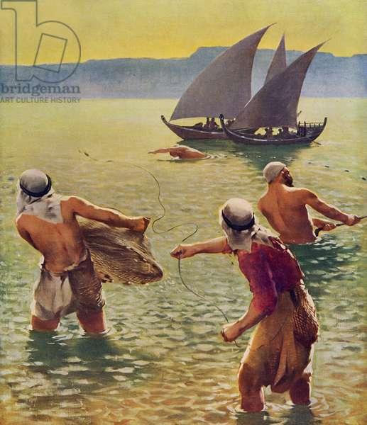 Sea of Galilee - fisherman as in time of Jesus