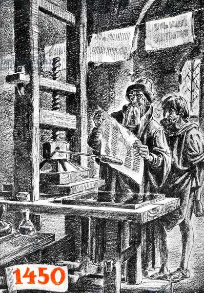 Johannes Gutenberg at his printing press, Germany
