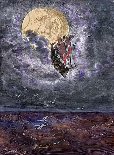 Baron Münchausen: Voyage to the moon, by Doré.
