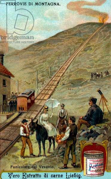 Funicular railway on Mount Vesuvius, Gulf of Naples