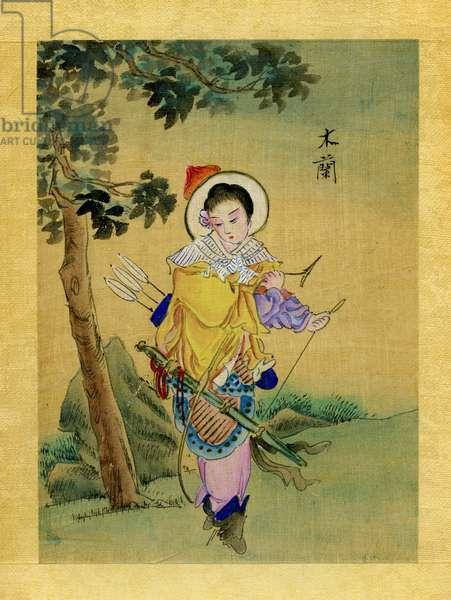 Hua Mulan, legendary warrior from ancient China (19th illustration)