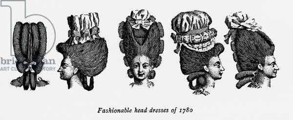 Fashionable head dresses of 1780