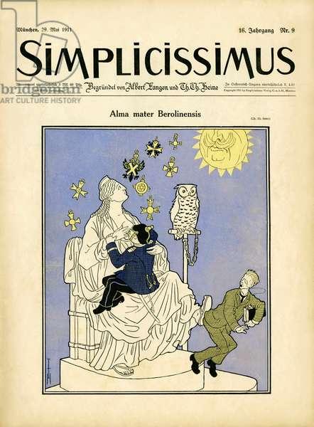 Simplicissimus cover - Alma mater Berolinensis. 29th May, 1911 (Print)
