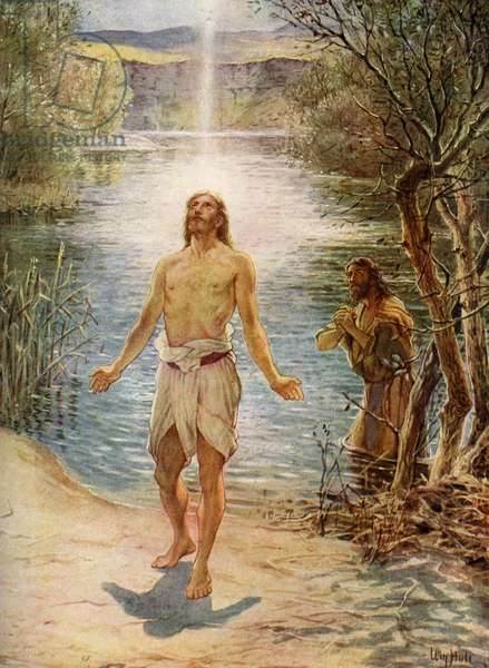 Jesus is baptised by Saint John - Bible
