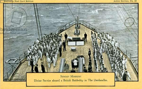 World War 1: Sunday service on a Britsh battleship