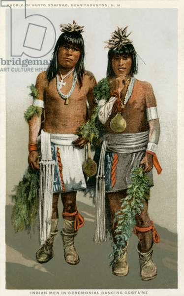 Pueblo Americans dressed for the Corn Dance