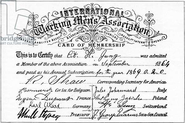 Membership card-  the 'International Working Men's