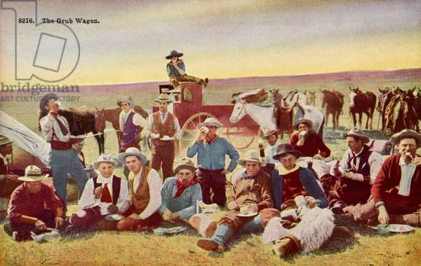 Cowboys eating lunch on the Prairie