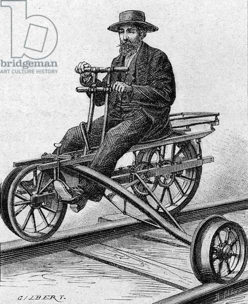 Velocipede for  inspection of American railway lines