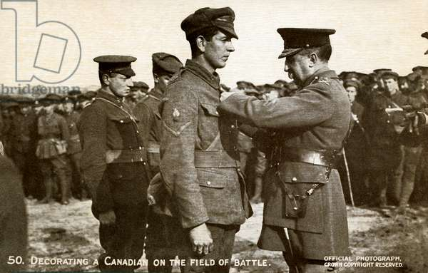 World War 1: Canadian soldier being decorated