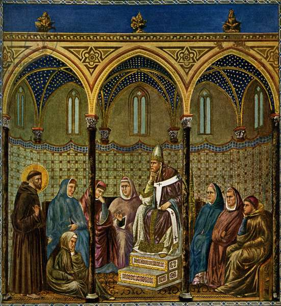 Saint Francis of Assisi preaches to Pope Honorius III