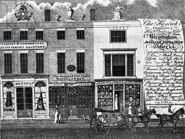 19th century advertisement for a Birmingham glass shop