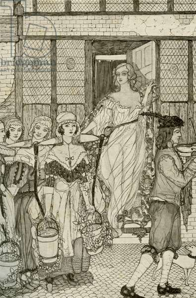 Nell Gwynn in Drury Lane -  illustration by  Kitty Shannon