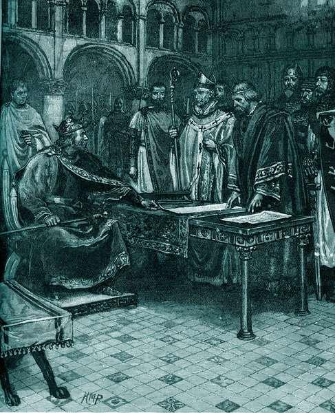 King John refusing to sign the Magna Carta