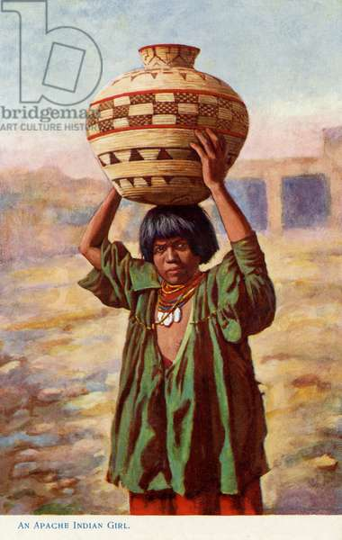 Apache girl carrying a pot
