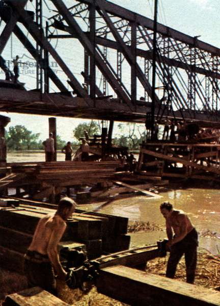 German pontoon sappers constructing a bridge