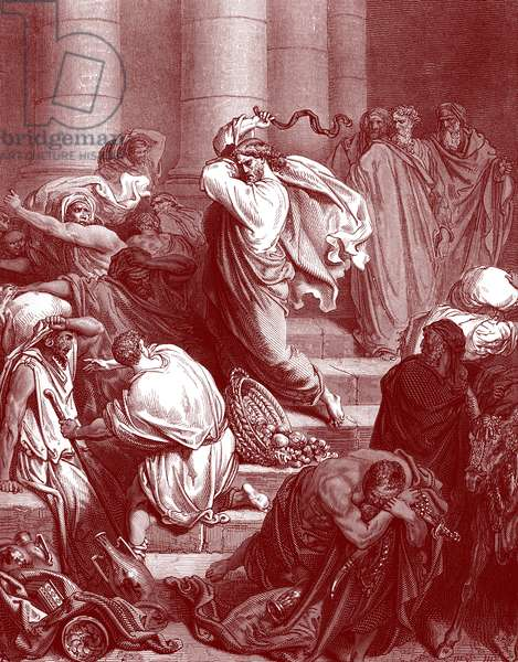 Jesus in the temple, engraving by Doré. - Bible