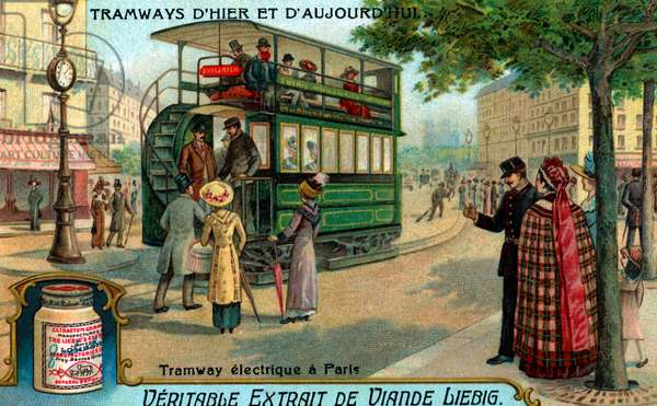 Electric tram in Paris, France
