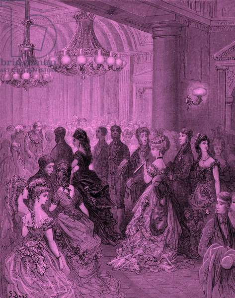 Victorian ball at the Mansion House, London  engraving by  Gustave Doré