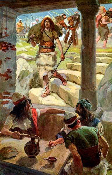 David returns to Achish by J James Tissot - Bible