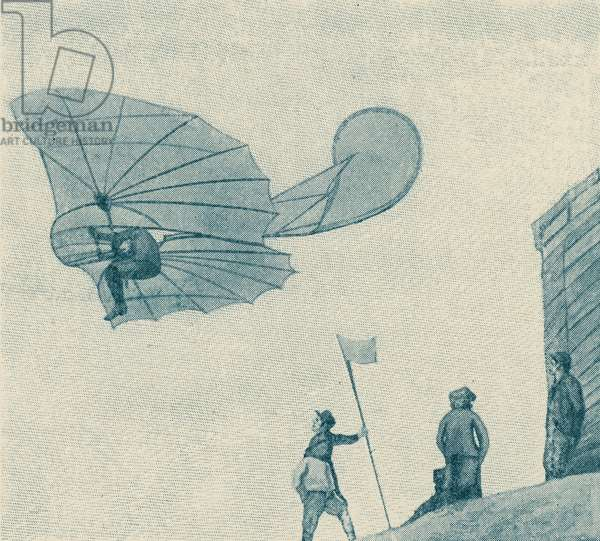 Otto Lilienthal with flying machine