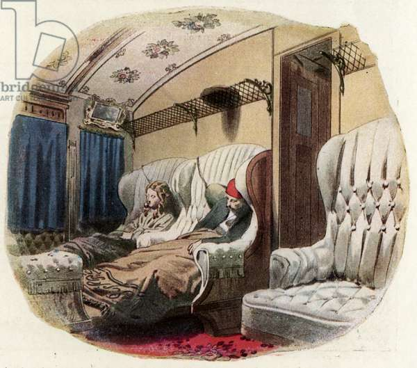 Royal Russian railway, 1864: 1st class compartment by night