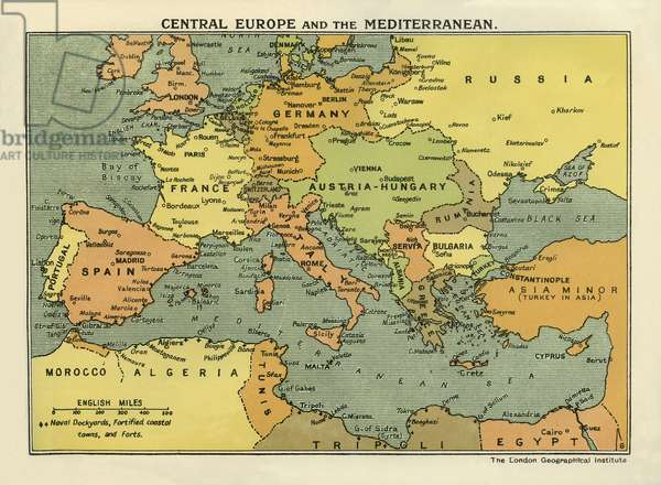 WWI Map of Central Europe and the Mediterranean