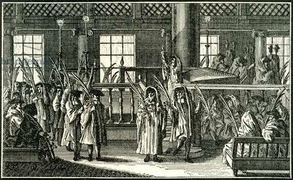 Feast of Tabernacles - procession in synagogue