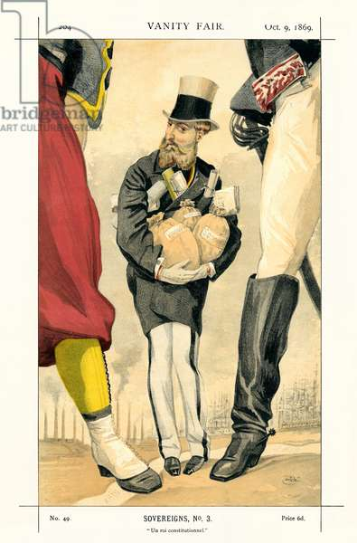 Leopold II - portrait standing, holding bags of moneyclose to himself