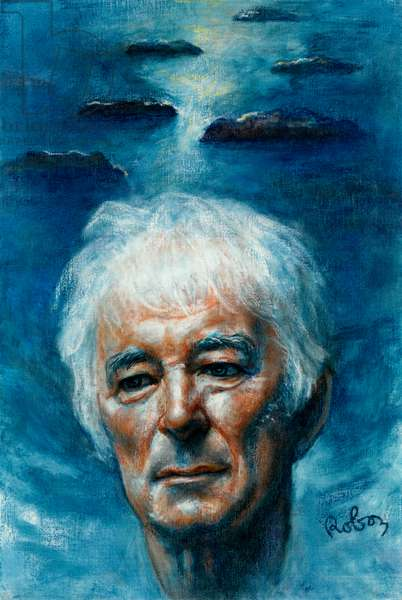 Seamus Heaney with ' Stepping Stones '  - portrait by Zsuzsi Roboz