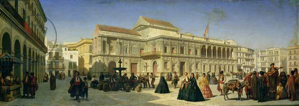 The Plaza de San Francisco and the Ayuntamiento, Seville (oil on canvas)