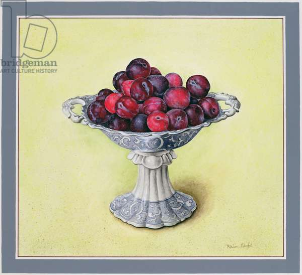 Dessert Bowl with Plums, 1990 (w/c on paper)