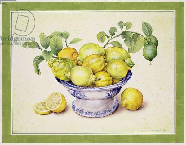 Bowl of Lemons, 1990 (w/c on paper)