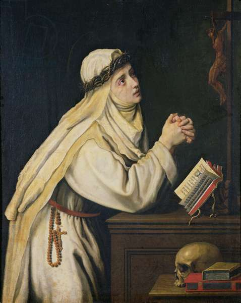 St. Catherine of Siena (1347-80) after a painting by Francisco Zurbaran (1598-1664) (oil on canvas)