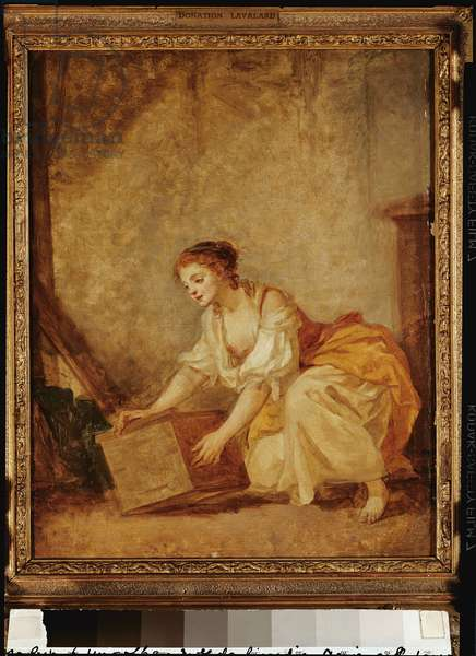 A Young Girl Lifting a Chest (oil on canvas)
